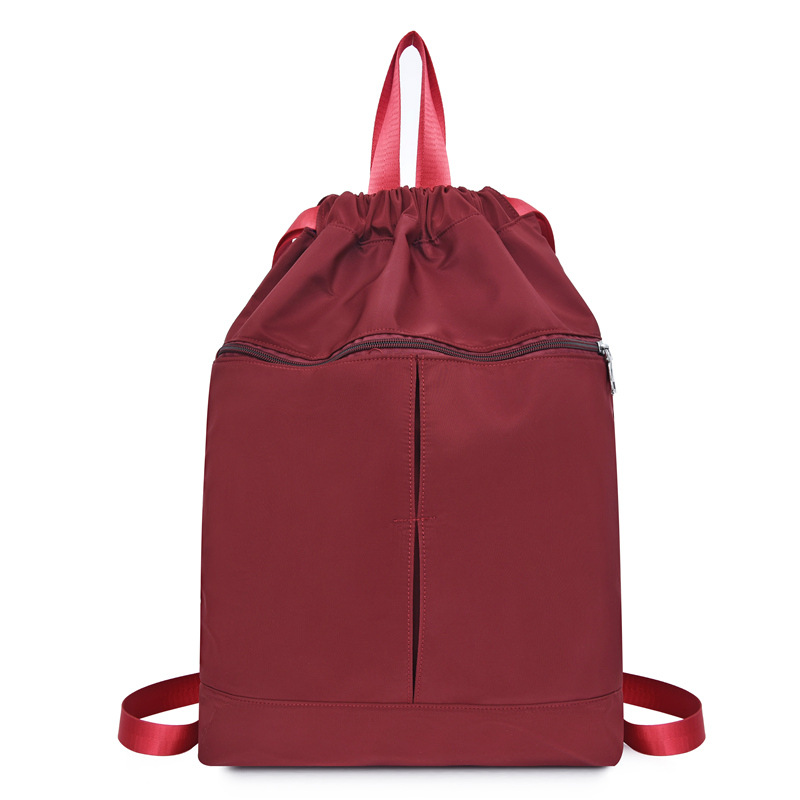 Large capacity portable polyester drawstring bag backpack